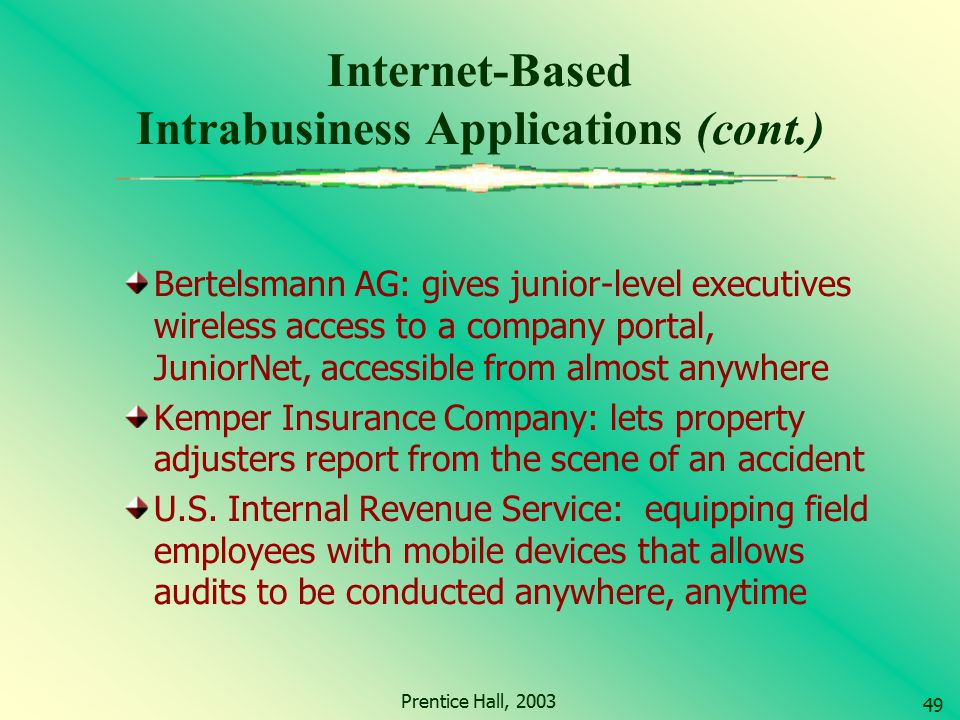 Internet-Based Intrabusiness Applications (cont.)