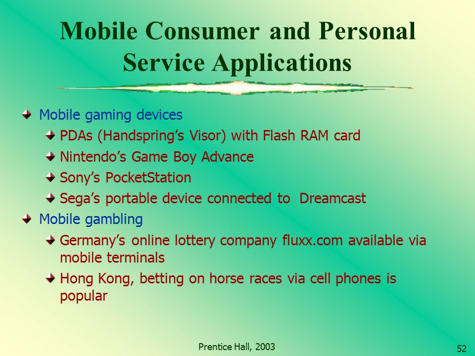 Mobile Consumer and Personal Service Applications