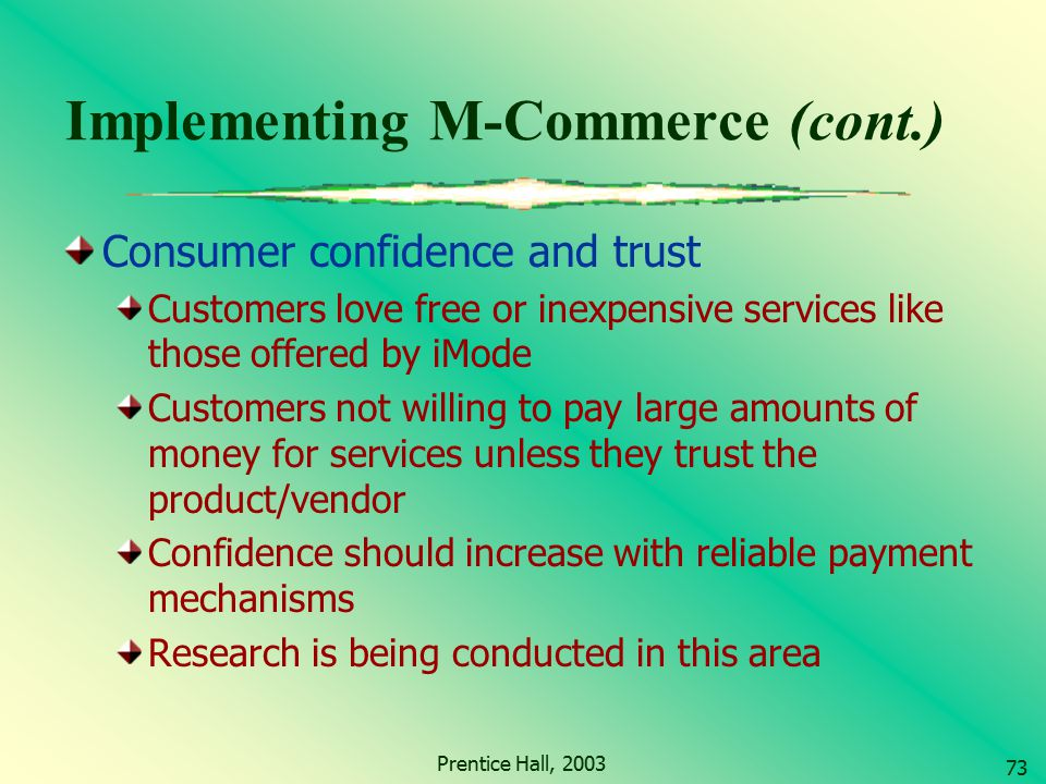 Implementing M-Commerce (cont.)