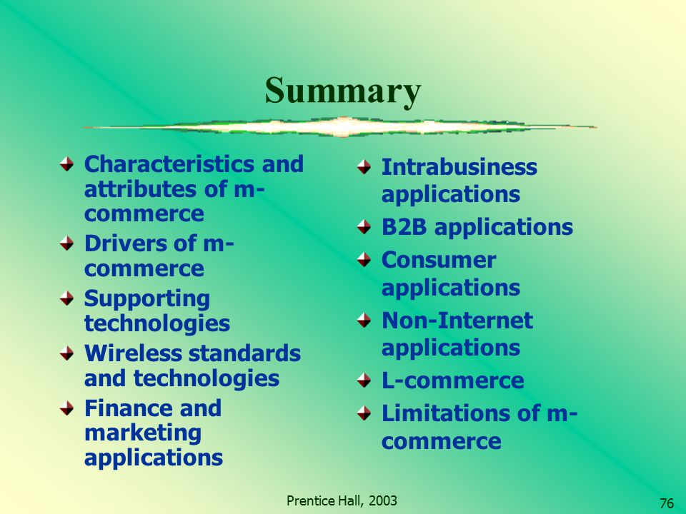 Summary Characteristics and attributes of m-commerce