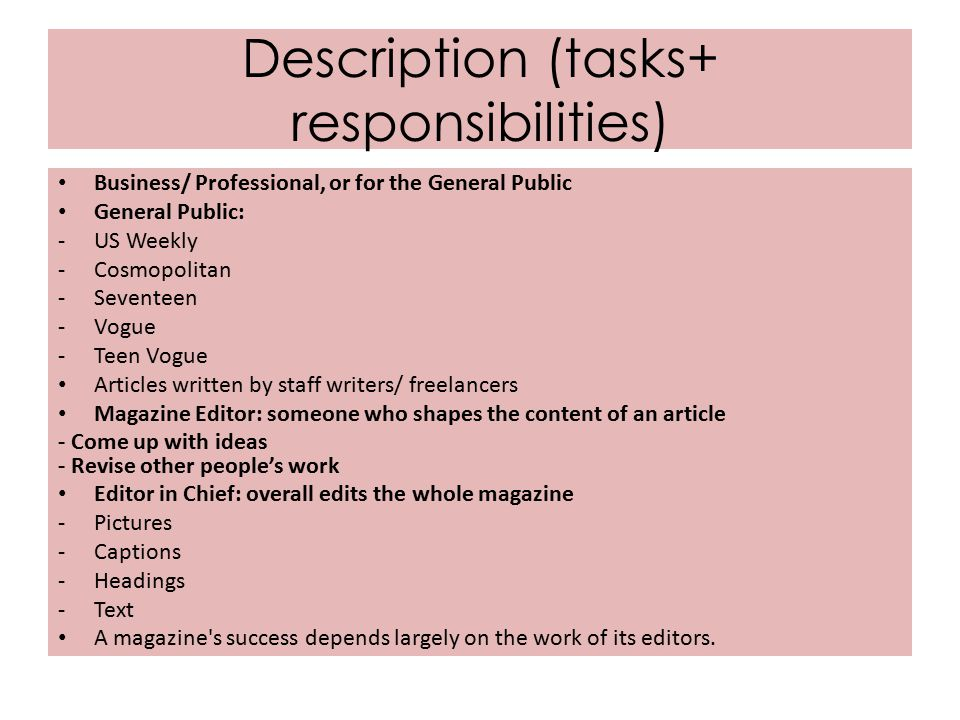 editor responsibilities