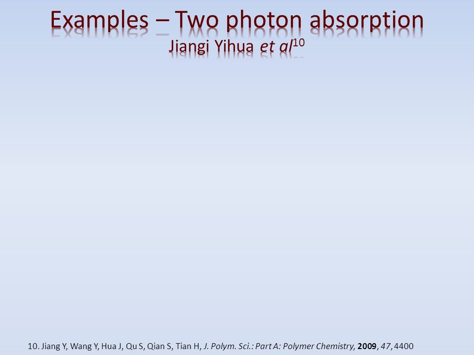 Examples – Two photon absorption Jiangi Yihua et al10