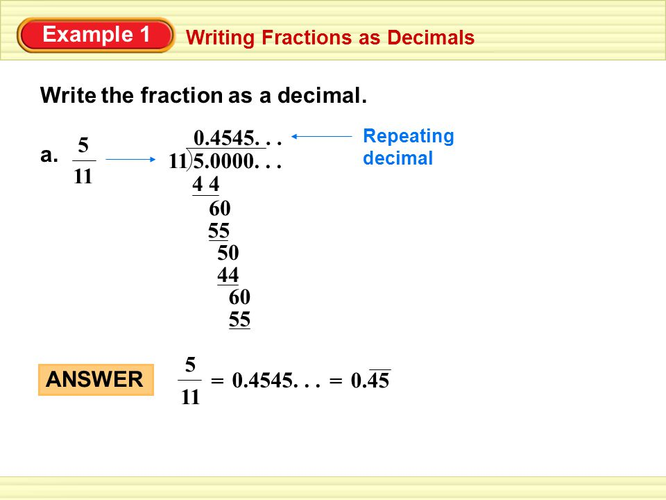 Write The Fraction As A Decimal