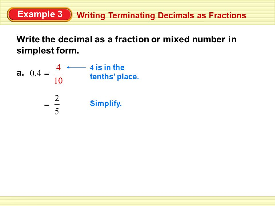 Write The Decimal As A Fraction Or Mixed Number In Simplest Form