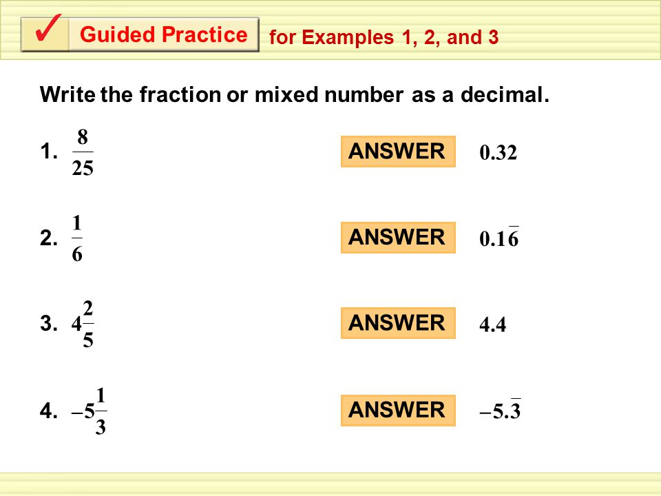 Write the fraction as a decimal. - ppt download