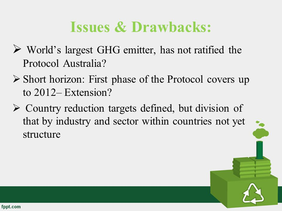 Issues & Drawbacks: World's largest GHG emitter, has not ratified the Protocol Australia