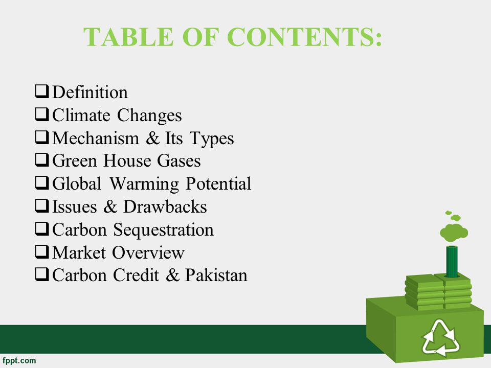 TABLE OF CONTENTS: Definition Climate Changes Mechanism & Its Types