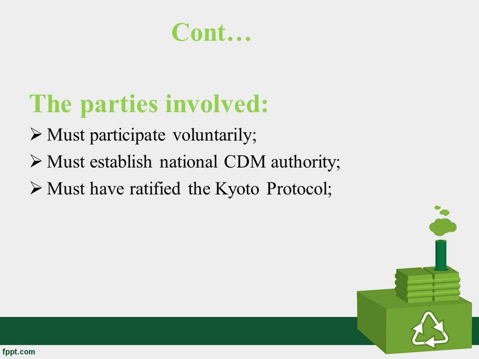 Cont… The parties involved: Must participate voluntarily;