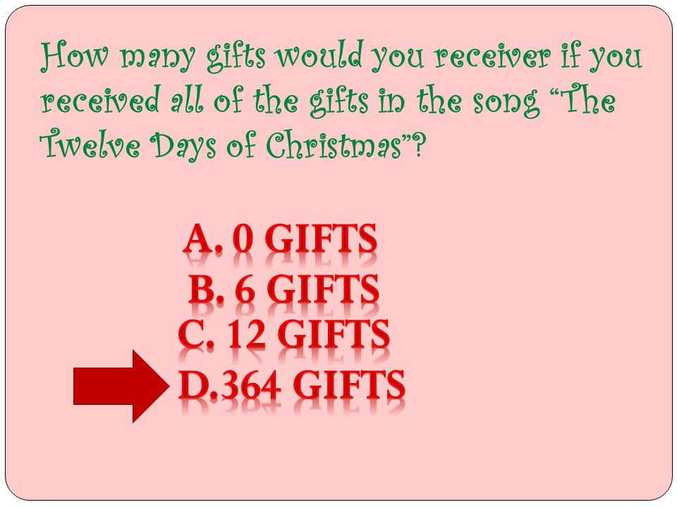 How Many Gifts Are In The Twelve Days Of Christmas.364 Gifts The Twelve Days Of Gift Ideas