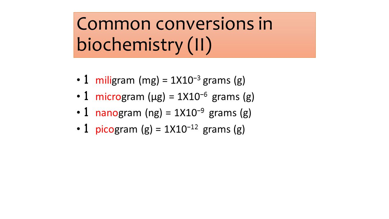 Common conversions in biochemistry (I)