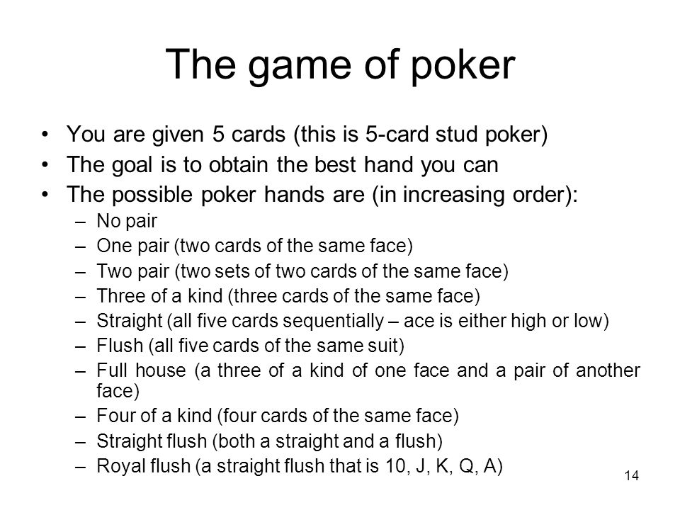 The Game Of You Are Given 5 Cards This Is 5 Card Stud