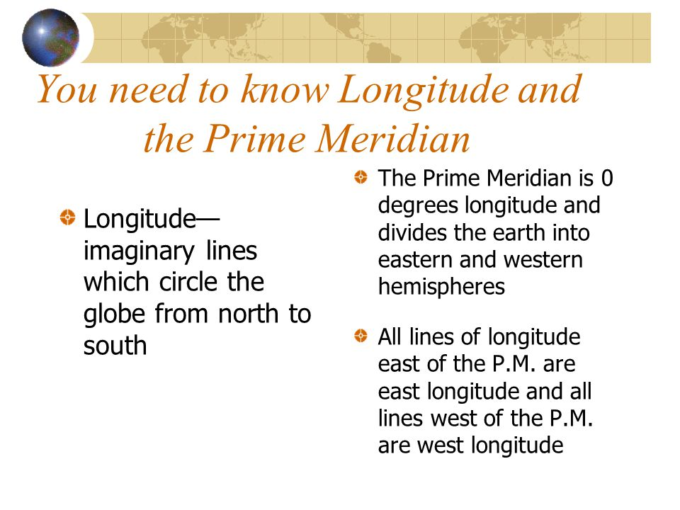 You need to know Longitude and the Prime Meridian