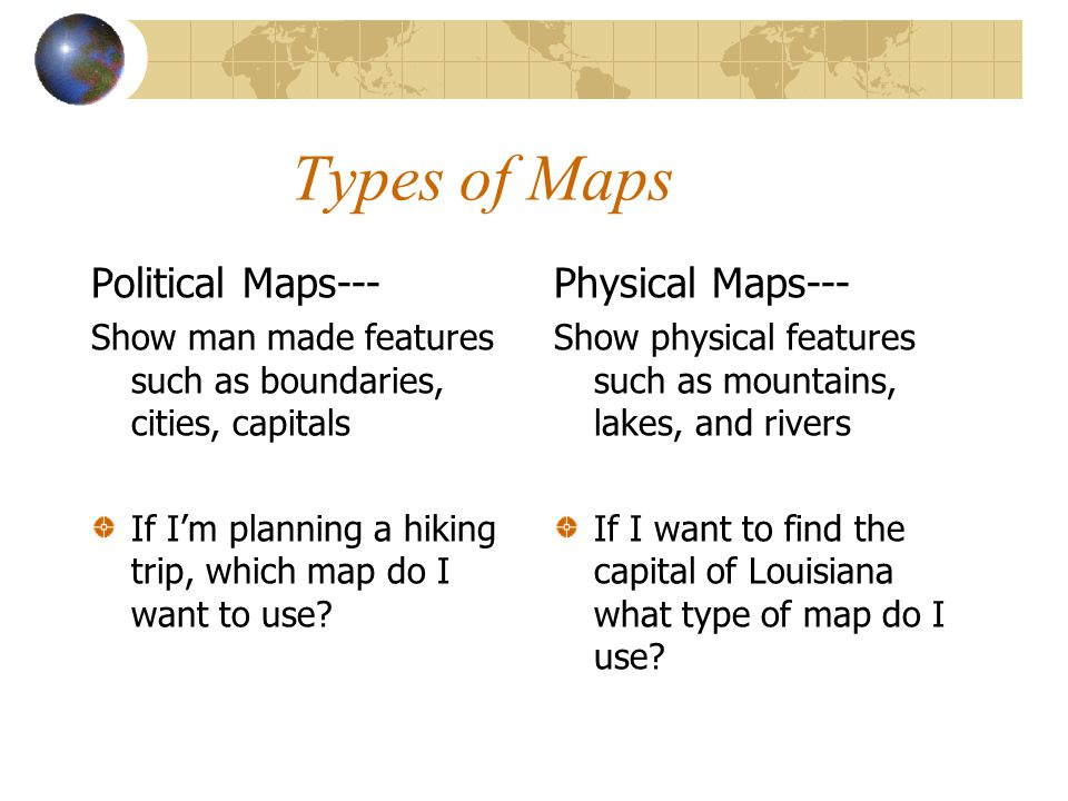 Types of Maps Political Maps--- Physical Maps---