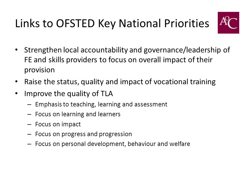 Links to OFSTED Key National Priorities