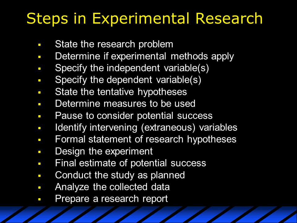 Steps in Experimental Research