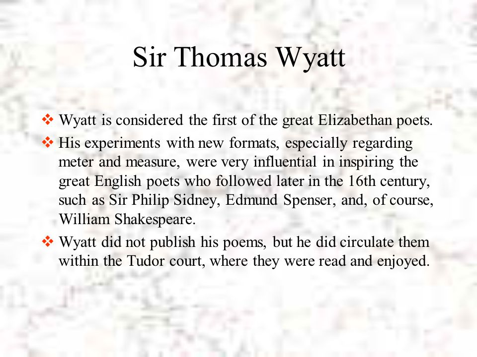 sir thomas wyatt poems analysis