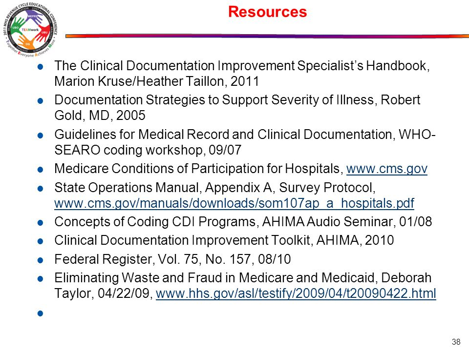 Resources The Clinical Documentation Improvement Specialists Handbook Marion Kruse Heather Taillon