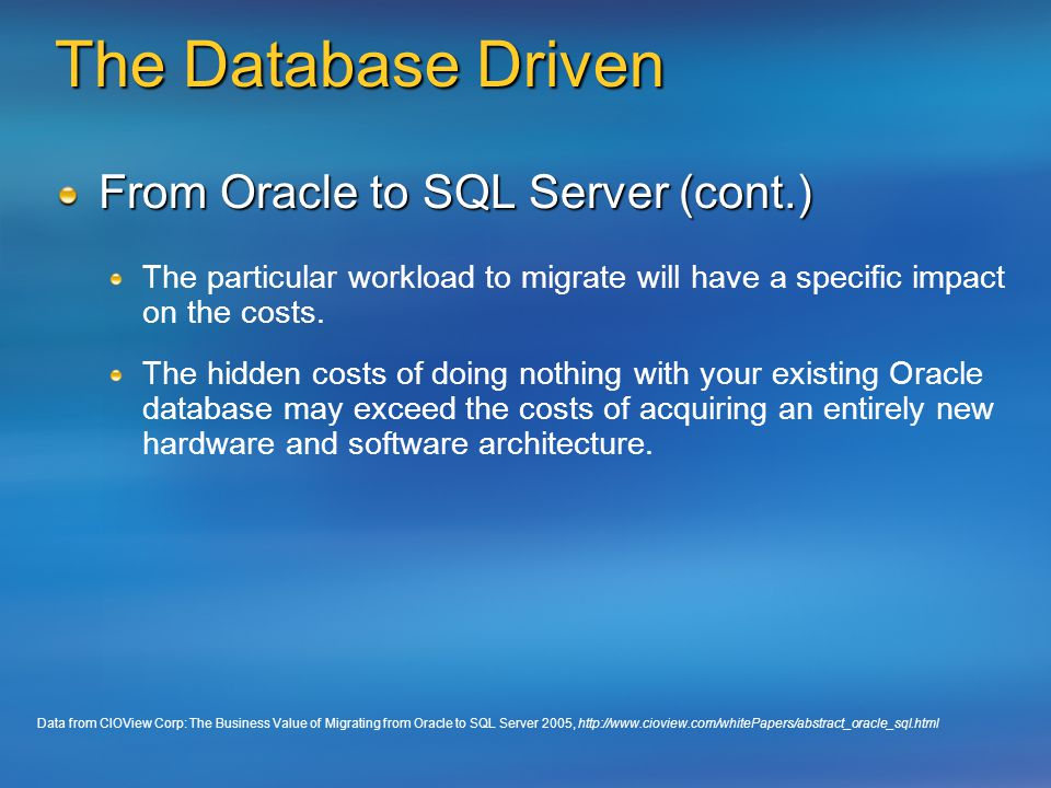 Migrating to Microsoft  NET and SQL Server: Why and How