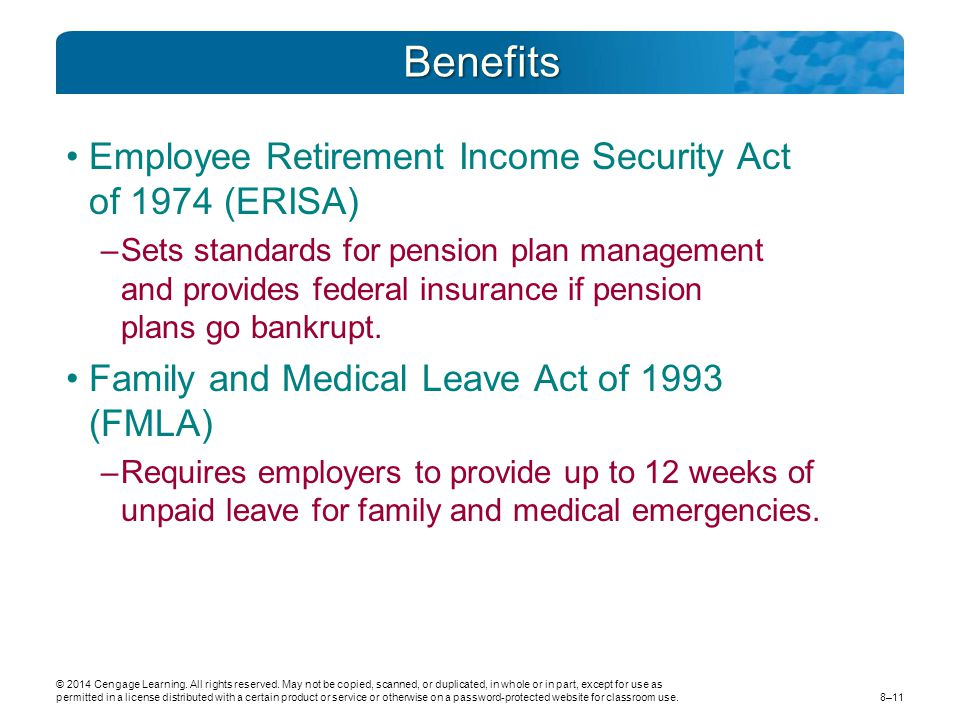 Benefits Employee Retirement Income Security Act of 1974 (ERISA)