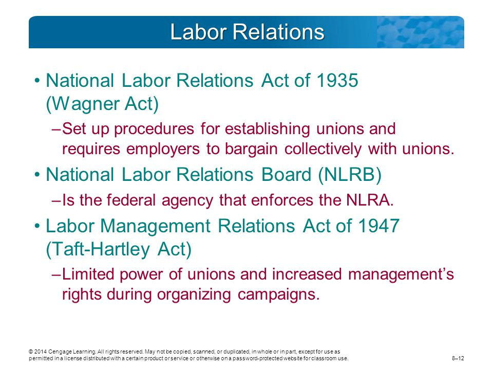 Labor Relations National Labor Relations Act of 1935 (Wagner Act)