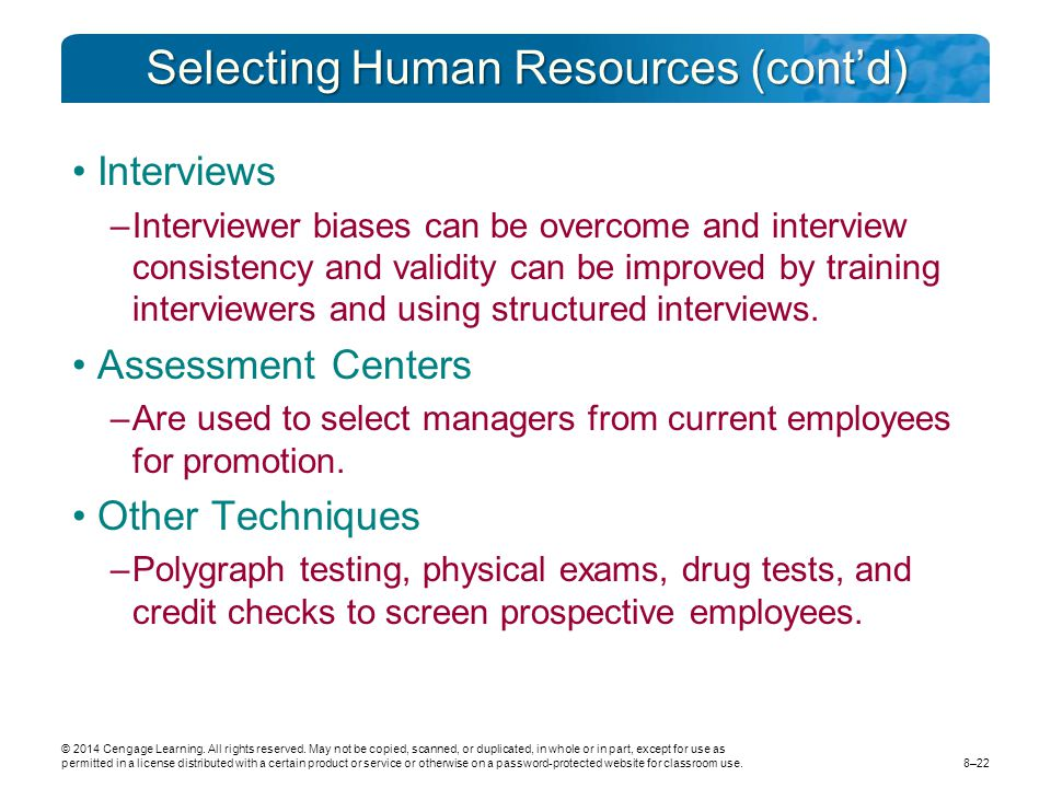 Selecting Human Resources (cont'd)
