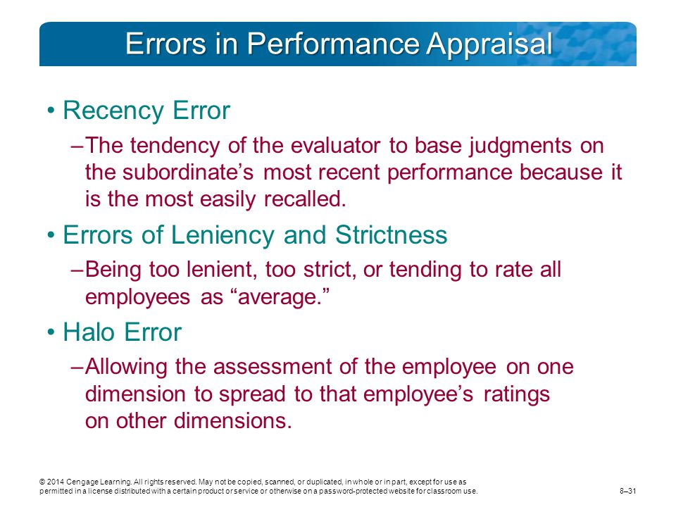 Errors in Performance Appraisal