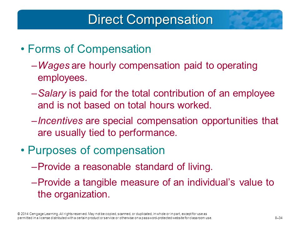 Direct Compensation Forms of Compensation Purposes of compensation