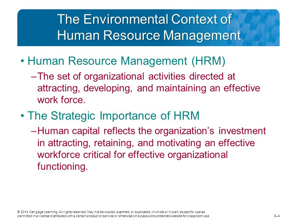 The Environmental Context of Human Resource Management