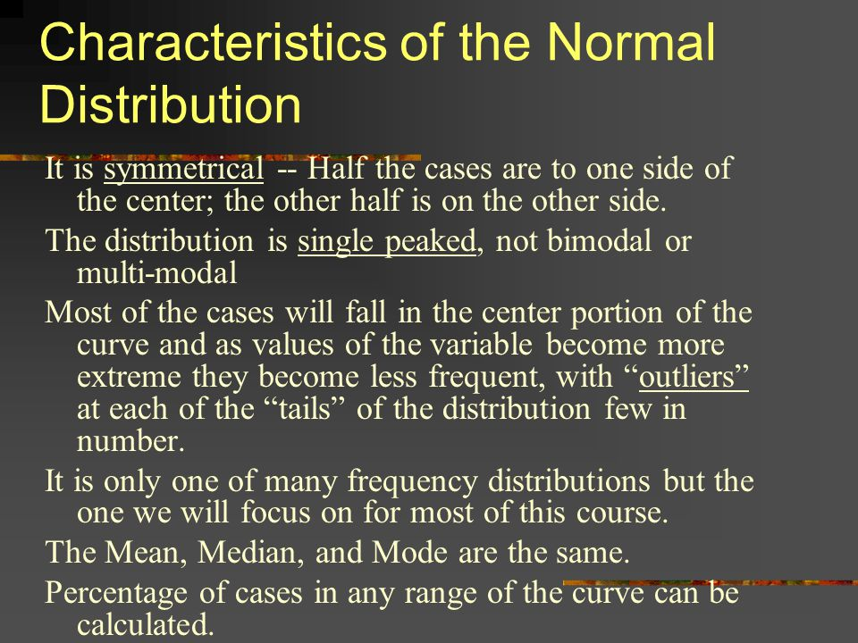 Characteristics of the Normal Distribution