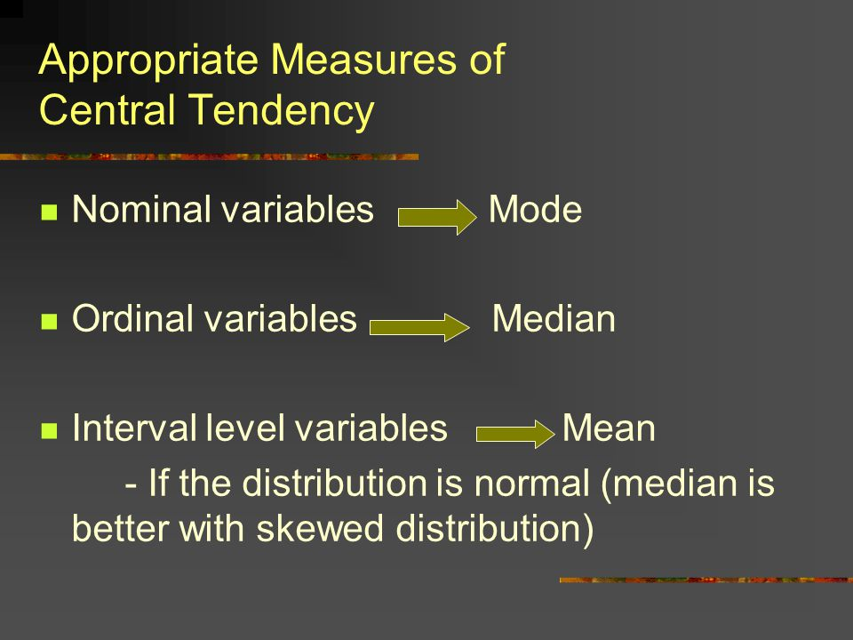 Appropriate Measures of Central Tendency