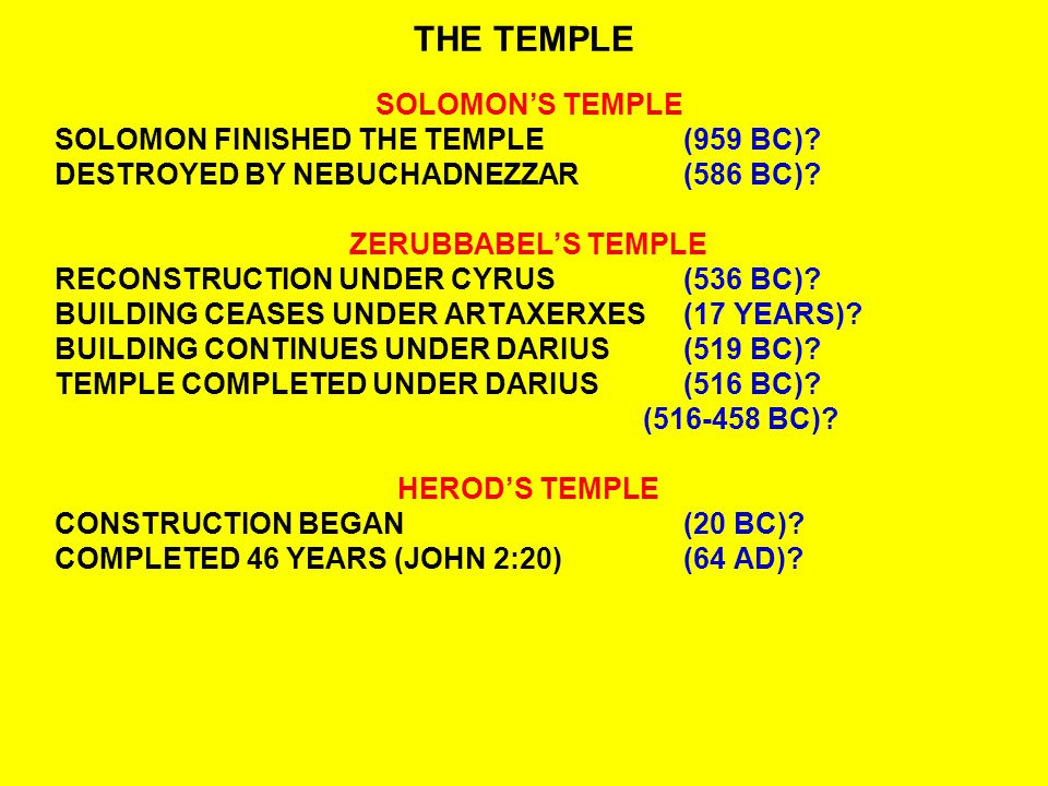 THE TEMPLE SOLOMON'S TEMPLE SOLOMON FINISHED THE TEMPLE (959 BC)