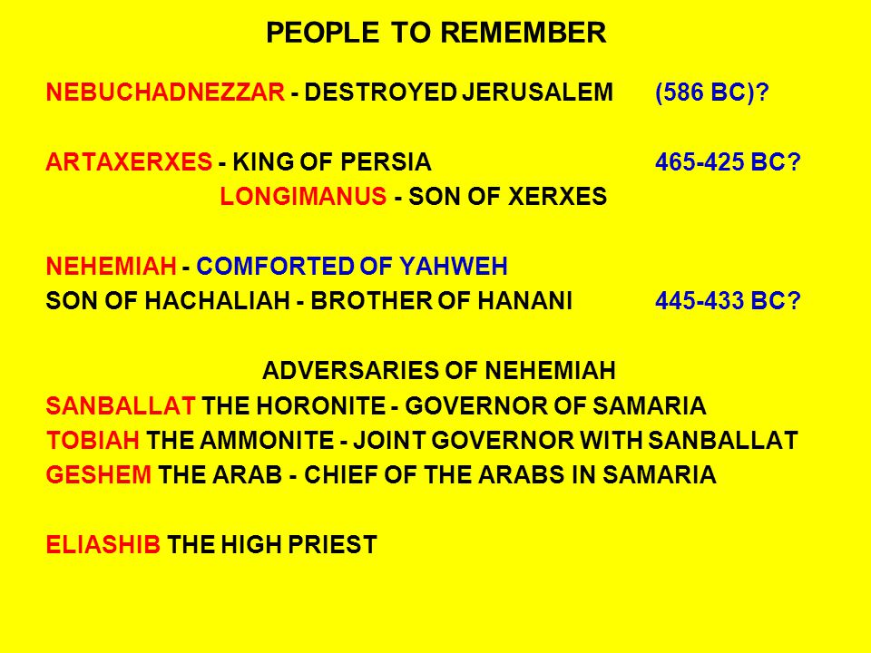ADVERSARIES OF NEHEMIAH