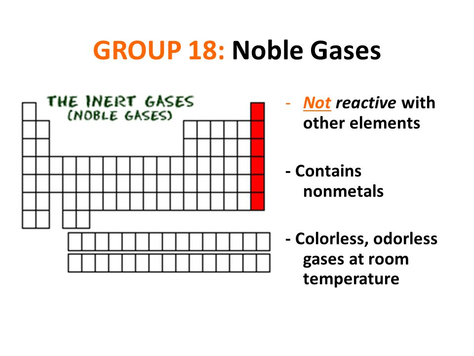 GROUP 18: Noble Gases Not reactive with other elements