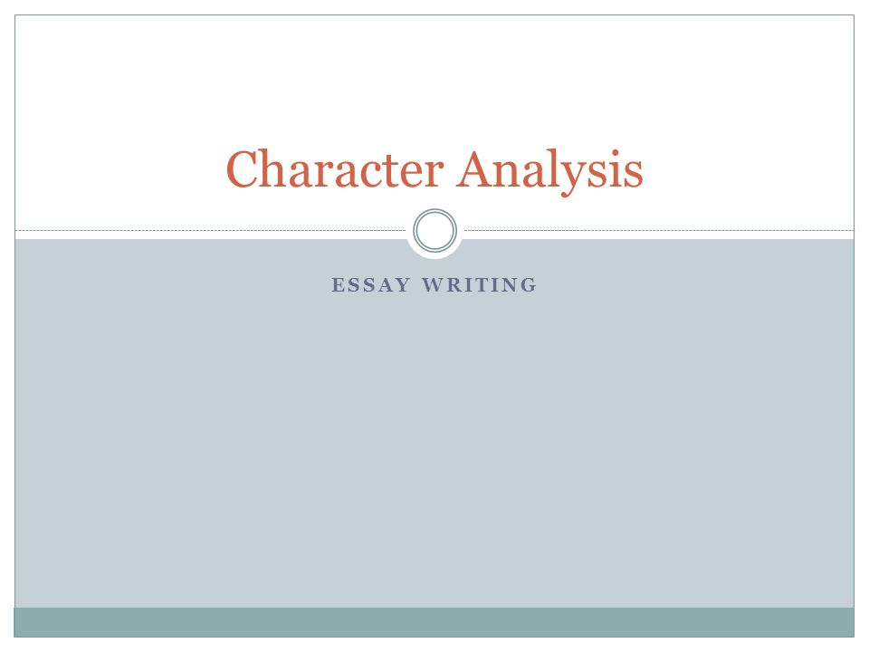 Character Analysis Essay writing