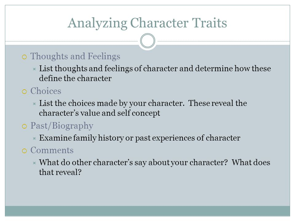 Analyzing Character Traits