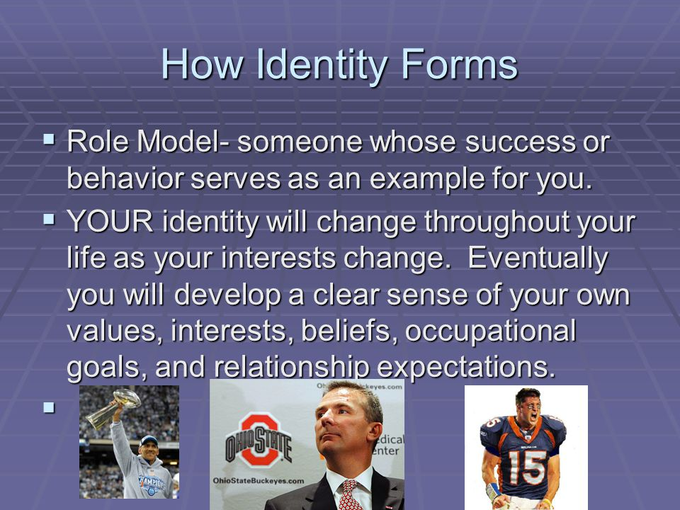 How Identity Forms Role Model- someone whose success or behavior serves as an example for you.