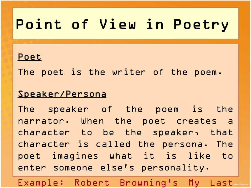 what is an example of point of view
