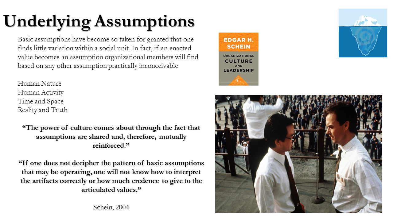 examples of basic assumptions in organizational culture