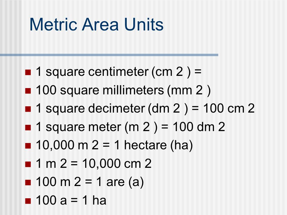 Metric Area Units 1 Square Centimeter Cm 2