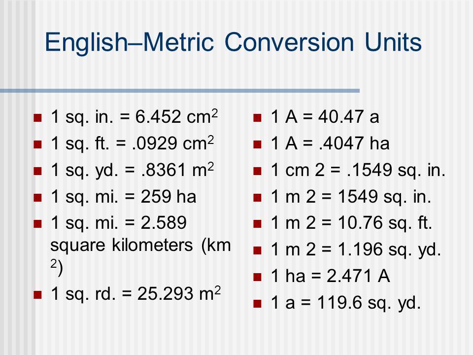 14 English Metric Conversion Units