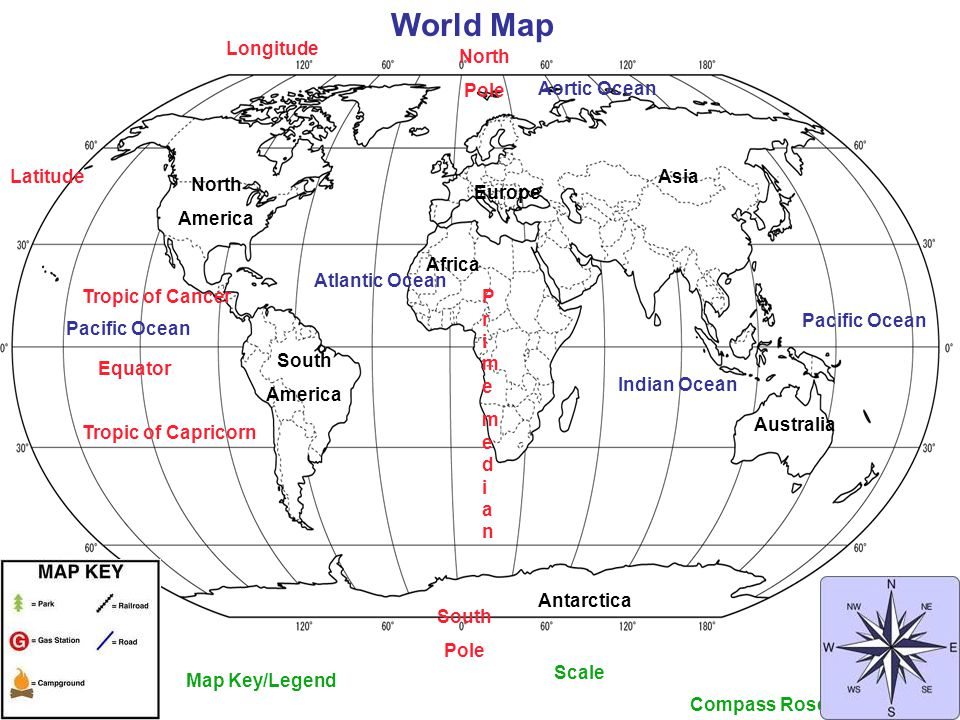 7 World Map Longitude North Pole Aortic Ocean Latitude Asia America Europe Africa Atlantic Tropic