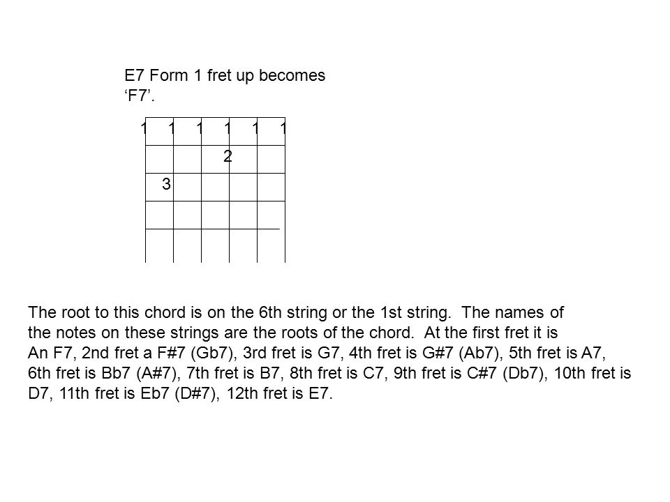 6th string root barre chords. The \'E\' form moveable chord. - ppt ...