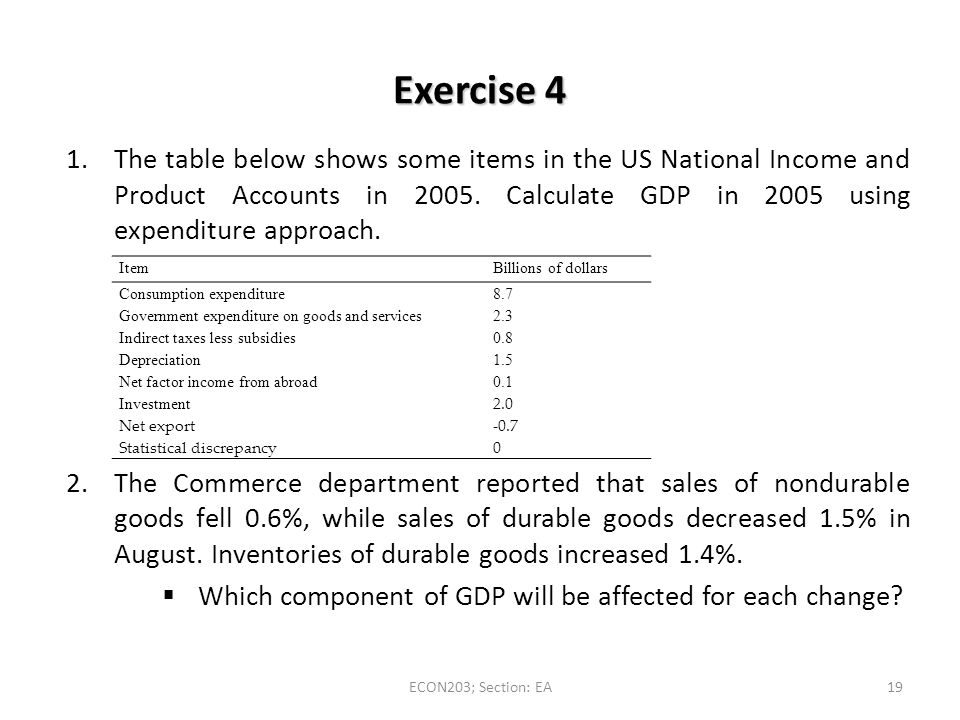 Exercise 4 The table below shows some items in the US National Income and Product Accounts in Calculate GDP in 2005 using expenditure approach.