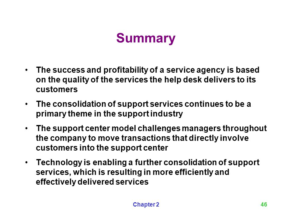Summary The Success And Profitability Of A Service Agency Is Based On Quality