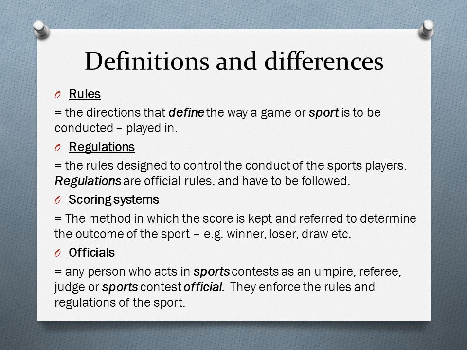 Definitions and differences