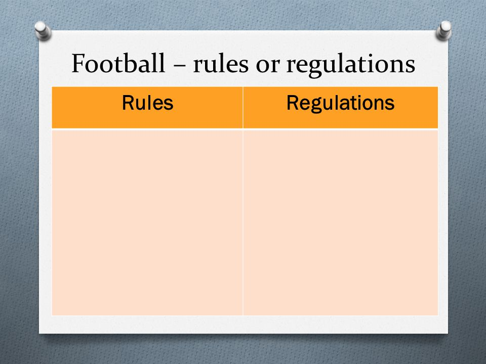 Football – rules or regulations