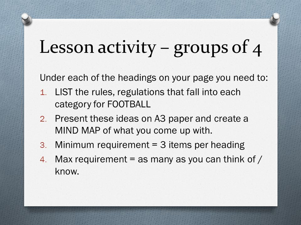 Lesson activity – groups of 4