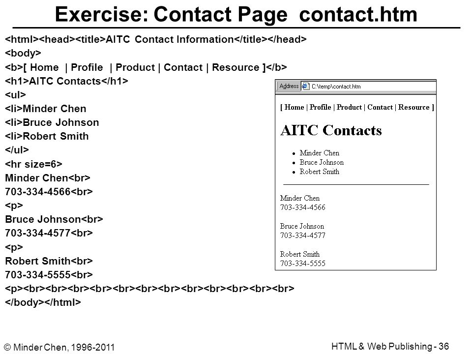 html authoring and web publishing ppt download Contact.htm #6