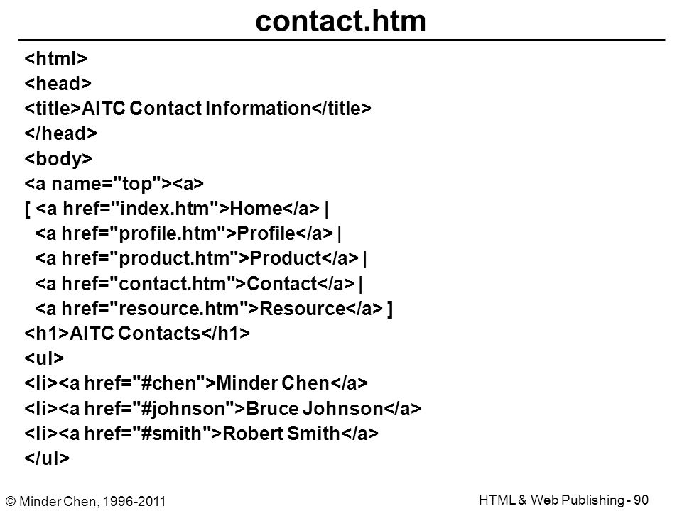 html authoring and web publishing ppt download Contact.htm #4