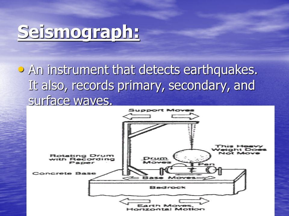 Seismograph: An instrument that detects earthquakes.